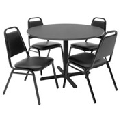 "42"" Round Table with Vinyl Chairs - Gray Table / Black Chairs"