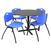 "Regency Table and Chair Set - 42"" Round - Mocha Walnut Table / Blue Plastic Chairs"