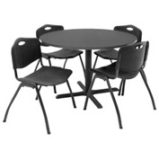 "Regency Table and Chair Set - 42"" Round - Mocha Walnut Table / Black Plastic Chairs"