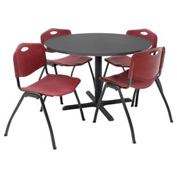 "42"" Round Table with Plastic Chairs - Mocha Walnut Table / Burgundy Chairs"