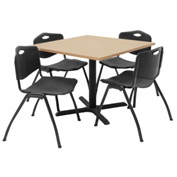 "36"" Square Table with Plastic Chairs - Beige Table / Black Chairs"