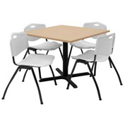 "36"" Square Table with Plastic Chairs - Beige Table / Gray Chairs"
