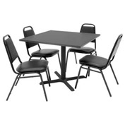 "Regency Table and Chair Set - 36"" Square - Gray Table / Black Vinyl Chairs"