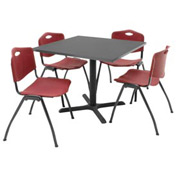"36"" Square Table with Plastic Chairs - Gray Table / Burgundy Chairs"