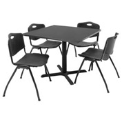 "36"" Square Table with Plastic Chairs - Mocha Walnut Table / Black Chairs"