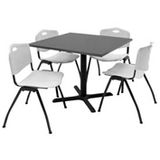 "36"" Square Table with Plastic Chairs - Mocha Walnut Table / Gray Chairs"