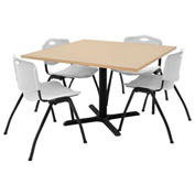 "42"" Square Table with Plastic Chairs - Beige Table / Gray Chairs"