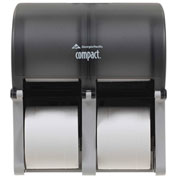 GP Compact Quad Translucent Smoke Vertical Four Roll Coreless Tissue Dispenser - 56744