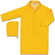 MCR Safety 200CM Classic Rain Coat, .35mm, PVC/Polyester, Detachable Hood, Yellow, Medium