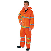 MCR Safety 2013RL Luminator™ 3-Piece Rain Suit, Orange w/ Lime Silver Stripes, Large