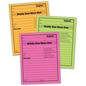 "Adams® Neon While You Were Out Message Pads, 4"" x 5"", Pink, Green, Orange, 6 Pads/Pack"