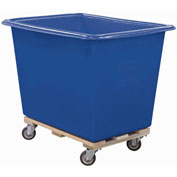 Royal Basket-Poly Truck, 14 Bu, Blue, Wood Base, All Swivel - R14-BLX-PTA-4UNN