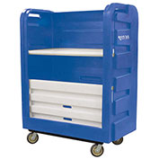 Royal Basket-Bulk Turnabout Truck, 48 Cu Ft, Blue, Plastic Shelves, 2 Rg/2 Sw - R48-BLX-TPC-6UNN
