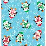 """Gift Wrap Paper, Roly Poly Penguins, 417'L X 24""""W"""