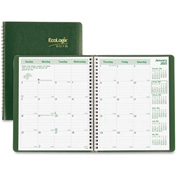 "Rediform Eco-friendly Monthly Planner 9-5/16"" x 7-1/2"" x 5/16"" Green"