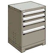 "Rousseau Metal Heavy Duty Modular Drawer Cabinet 4 Drawer Bench High 24""W - Light Gray"