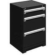 "Rousseau Metal Heavy Duty Modular Drawer Cabinet 3 Drawer Counter High 24""W - Black"