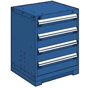 "Rousseau Metal Heavy Duty Modular Drawer Cabinet 4 Drawer Bench High 24""W - Avalanche Blue"