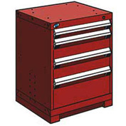"Rousseau Metal Heavy Duty Modular Drawer Cabinet 4 Drawer Bench High 24""W - Red"