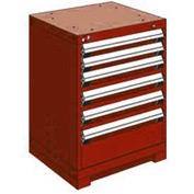 """Rousseau Metal Heavy Duty Modular Drawer Cabinet 6 Drawer Bench High 24""""W - Red"""