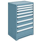 "Rousseau Metal Heavy Duty Modular Drawer Cabinet 8 Drawer Counter High 30""W - Everest Blue"