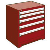 "Rousseau Metal Heavy Duty Modular Drawer Cabinet 5 Drawer Bench High 30""W - Red"