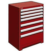 "Rousseau Metal Heavy Duty Modular Drawer Cabinet 7 Drawer Counter High 30""W - Red"
