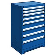 "Rousseau Metal Heavy Duty Modular Drawer Cabinet 8 Drawer Counter High 30""W - Avalanche Blue"