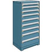 "Rousseau Metal Heavy Duty Modular Drawer Cabinet 9 Drawer Full Height 30""W - Everest Blue"