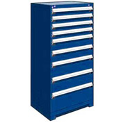 "Rousseau Metal Heavy Duty Modular Drawer Cabinet 9 Drawer Full Height 30""W - Avalanche Blue"