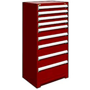 "Rousseau Metal Heavy Duty Modular Drawer Cabinet 9 Drawer Full Height 30""W - Red"