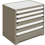 "Rousseau Metal Heavy Duty Modular Drawer Cabinet 5 Drawer Bench High 36""W - Light Gray"