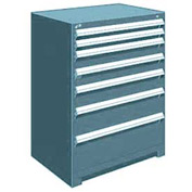 "Rousseau Metal Heavy Duty Modular Drawer Cabinet 7 Drawer Counter High 36""W - Everest Blue"