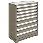 "Rousseau Metal Heavy Duty Modular Drawer Cabinet 8 Drawer Counter High 36""W - Light Gray"