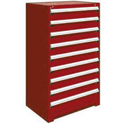 "Rousseau Metal Heavy Duty Modular Drawer Cabinet 9 Drawer Full Height 36""W - Red"
