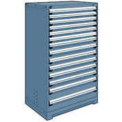 "Rousseau Metal Heavy Duty Modular Drawer Cabinet 14 Drawer Full Height 36""W - Everest Blue"