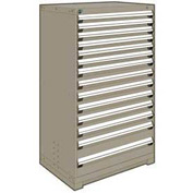 "Rousseau Metal Heavy Duty Modular Drawer Cabinet 14 Drawer Full Height 36""W - Light Gray"