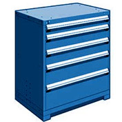 "Rousseau Metal Heavy Duty Modular Drawer Cabinet 5 Drawer Counter High 36""W - Avalanche Blue"