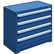 "Rousseau Metal Heavy Duty Modular Drawer Cabinet 4 Drawer Bench High 36""W - Avalanche Blue"
