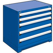 "Rousseau Metal Heavy Duty Modular Drawer Cabinet 5 Drawer Bench High 36""W - Avalanche Blue"