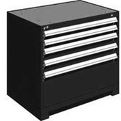 "Rousseau Metal Heavy Duty Modular Drawer Cabinet 5 Drawer Bench High 36""W - Black"