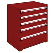 "Rousseau Metal Heavy Duty Modular Drawer Cabinet 5 Drawer Counter High 36""W - Red"