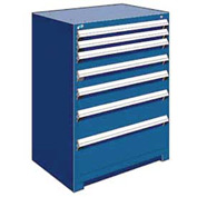 "Rousseau Metal Heavy Duty Modular Drawer Cabinet 7 Drawer Counter High 36""W - Avalanche Blue"