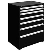 "Rousseau Metal Heavy Duty Modular Drawer Cabinet 7 Drawer Counter High 36""W - Black"