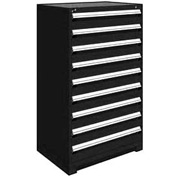 "Rousseau Metal Heavy Duty Modular Drawer Cabinet 9 Drawer Full Height 36""W - Black"