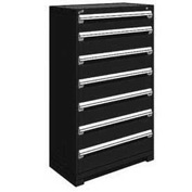 "Rousseau Metal Heavy Duty Modular Drawer Cabinet 7 Drawer Full Height 36""W - Black"