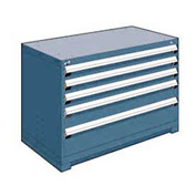 "Rousseau Metal Heavy Duty Modular Drawer Cabinet 5 Drawer Bench High 48""W - Everest Blue"