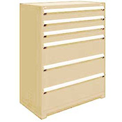 "Rousseau Metal Heavy Duty Modular Drawer Cabinet 6 Drawer Full Height 48""W - Beige"