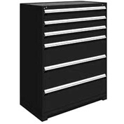 "Rousseau Metal Heavy Duty Modular Drawer Cabinet 6 Drawer Full Height 48""W - Black"