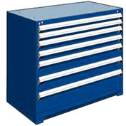 "Rousseau Metal Heavy Duty Modular Drawer Cabinet 7 Drawer Counter High 48""W - Avalanche Blue"